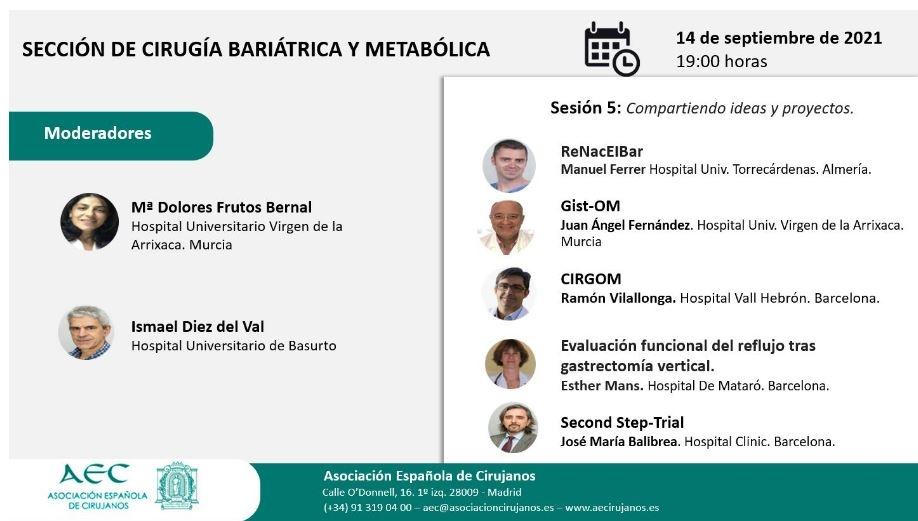 AULA VIRTUAL AEC. Sección de Cirugía Bariátrica y Metabólica: Sesión 5: Compartiendo ideas y proyectos
