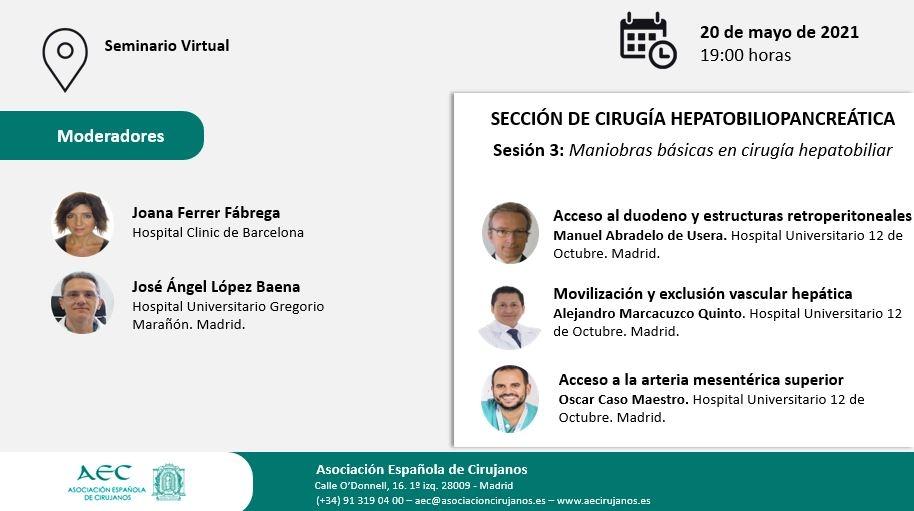 AULA VIRTUAL AEC. Sección Cirugía Hepatobiliopancreática. Sesión 3: Maniobras básicas en cirugía hepatobiliar