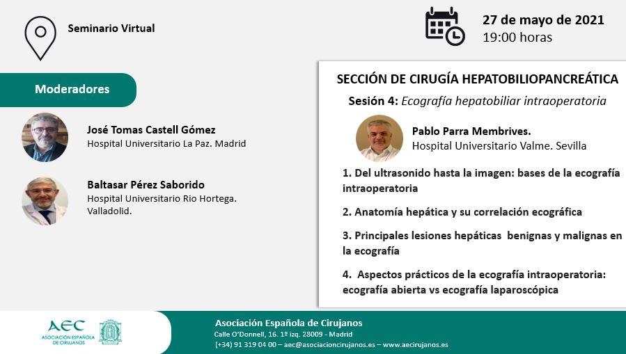AULA VIRTUAL AEC. Sección Cirugía Hepatobiliopancreática. Sesión 4: Ecografía hepatobiliar intraoperatoria