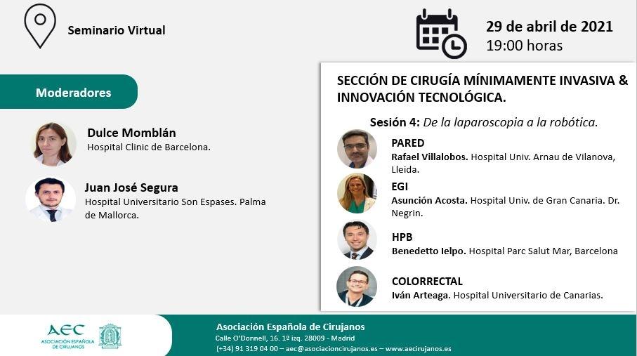 AULA VIRTUAL AEC. Sección CMI-ITEC. Sesión 4: De la laparoscopia a la robótica