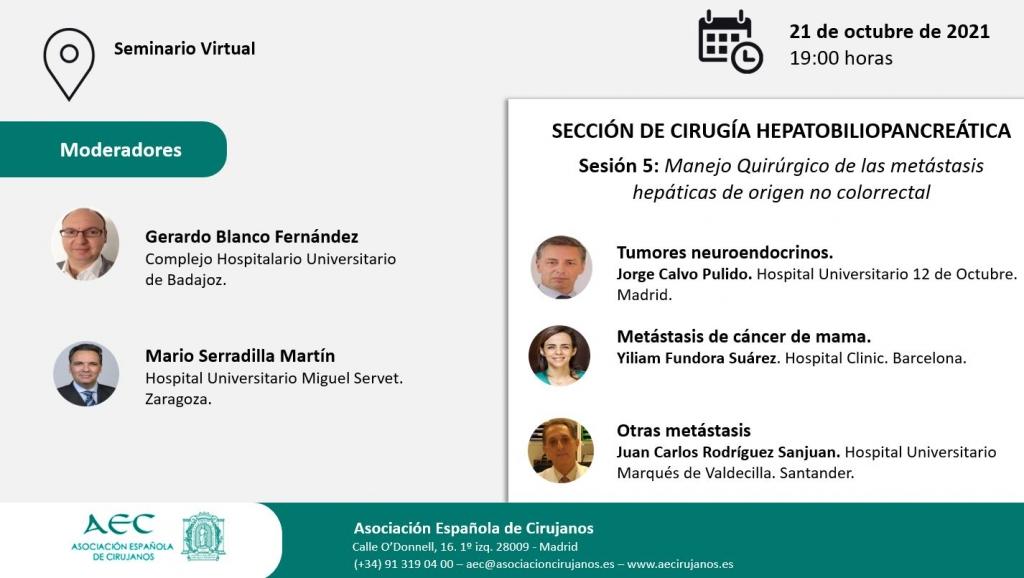AULA VIRTUAL AEC. Sección Cirugía Hepatobiliopancreática. Sesión 5: Manejo quirúrgico de las metástasis hepáticas de origen no colorrectal