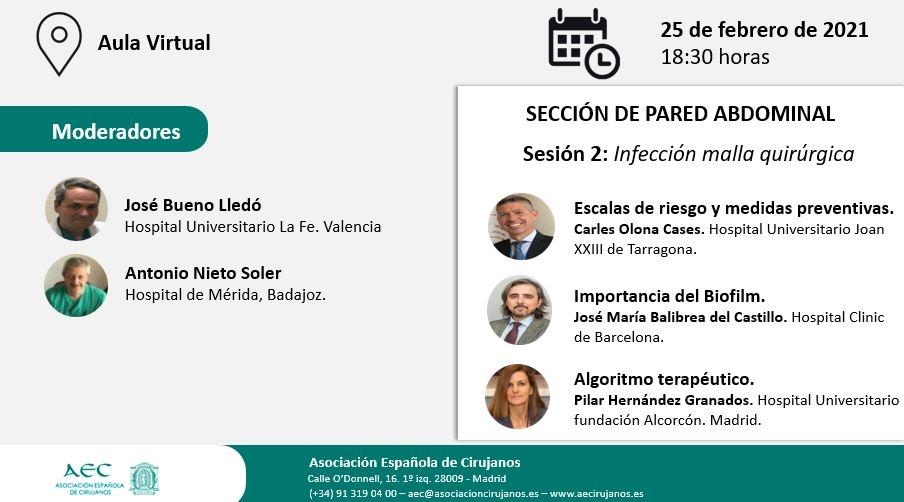 AULA VIRTUAL AEC. Sección Pared Abdominal. Sesión 2: Infección malla quirúrgica