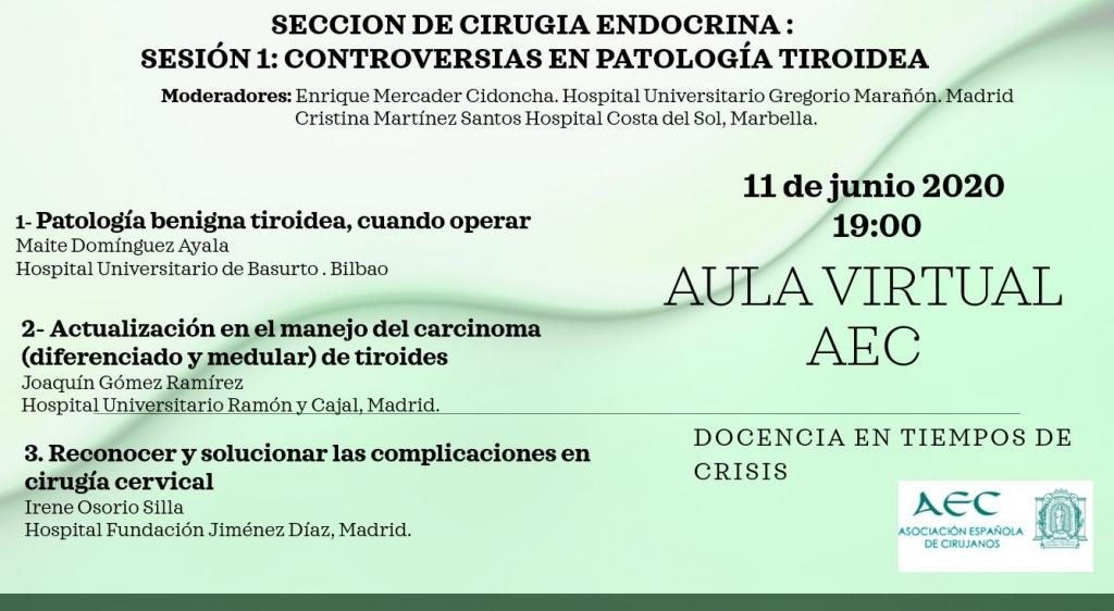 Webinar- Aula Virtual de la AEC- Sección de Cirugía Endocrina: Sesión 1: Controversias en Patología Tiroidea